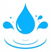 pic of spigot  - icon with blue water drop splash silhouette - JPG