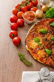 stock photo of hot fresh pizza  - Cheese pizza with fresh tomato and chilli basil hot spicy sause - JPG