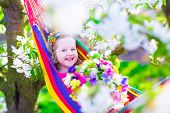 stock photo of apple orchard  - Child relaxing in hammock - JPG