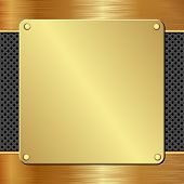 pic of plaque  - golden plaque on black textured panel  - JPG