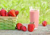 pic of strawberry  - fresh organic strawberry smoothie with fresh strawberries - JPG