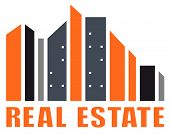 image of skyscrapers  - real estate symbol with many skyscraper silhouette - JPG
