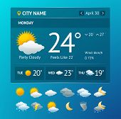 pic of windy weather  - Vectot illustration weather widget for smartphone with icon set isolated on a white background - JPG