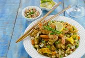 picture of egg noodles  - pad thai noodles with shrimps and eggs - JPG