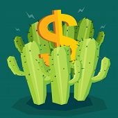 stock photo of sand dollar  - Dollar sign in cactus  - JPG