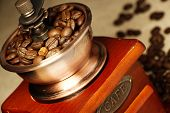 stock photo of coffee coffee plant  - Closeup picture of coffee bean grinder and coffee bean - JPG