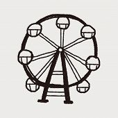 stock photo of ferris-wheel  - Ferris Wheel Doodle - JPG