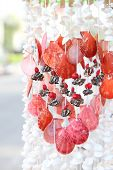 image of beach shell art  - beautiful white and red shell mobile from the beach  - JPG