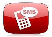 pic of sms  - sms red glossy web icon