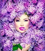 picture of violet  - Beauty fashion model Girl with Lilac Flowers Hair Style - JPG