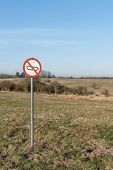 pic of restriction  - Forbidden tank sign on a restricted area in nature - JPG