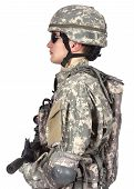 picture of rifle  - soldier with rifle stands sideways on a white background - JPG