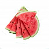 foto of watermelon slices  - fresh Slices of watermelon on white background - JPG