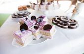 picture of dessert plate  - Blueberry desserts on the plate at candy bar table closeup - JPG