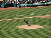 Red Sox Josh Beckett Throws Pitch