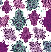 picture of hamsa  - Seamless arabic hamsa hand illustration background - JPG
