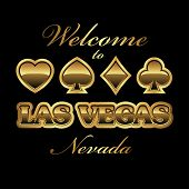 picture of las vegas casino  - Welcome to Las Vegas Nevada gambling invitation design in gold - JPG