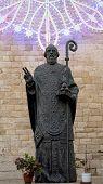 stock photo of saint-nicolas  - Bronze statue with luminaria of St - JPG