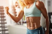 stock photo of abdominal muscle  - Brutal blond with a muscular - JPG