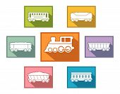 foto of railroad car  - railroad train set icons for passenger or cargo industry - JPG