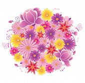 picture of violets  - Decorative vector flowering planet with pink and violet flowers - JPG
