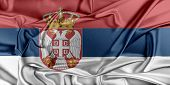 stock photo of serbia  - Flag of Serbia waving in the wind - JPG