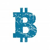 pic of bitcoin  - Vector grunge blue icon with bitcoin symbol - JPG