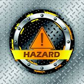 foto of universal sign  - Universal warning sign on metallic plate background - JPG