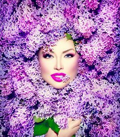 pic of violet flower  - Beauty fashion model Girl with Lilac Flowers Hair Style - JPG