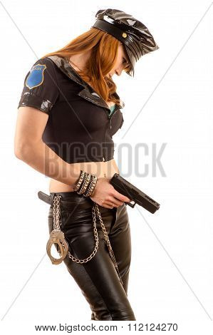attractive woman in costume policewoman