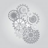 Постер, плакат: Business mechanism concept Abstract background with connected gears and icons for strategy service