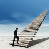 Concept conceptual 3D business man walking or climbing stair on sky background with clouds, metaphor poster