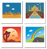 Set Of Four Travel Vector Photos With Taj Mahal,egypt Pyramids,road And Mexican Landscape