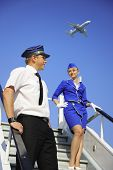 stock photo of cabin crew  - Picture of a beautiful cabin crew couple - JPG