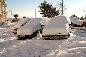 Snow covered cars, St.Leonards
