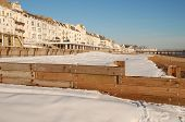 Snow covered beach, Hastings