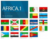Waving Flags of African Countries - Part 1. World Flags Set.
