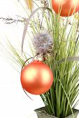 Bunch With Artificial Grass With Christmas Decoration.