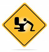 stock photo of puke  - Vector illustration of a warning sign with an icon vomiting - JPG