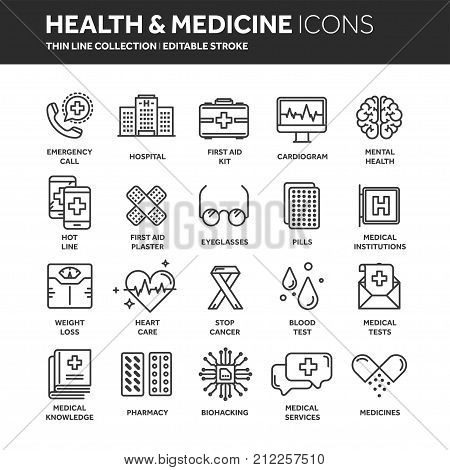 poster of Health care, medicine. First aid. Medical blood tests and diagnostic. Heart cardiogram. Pills and drugs.Thin line web icon set. Outline icons collection.Vector illustration.