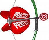 An arrow  with the words Practice and Perfect pulling back on the bow and aiming at a bulls-eye target, illustrating the importance of practicing a skill to reach success and meet a goal