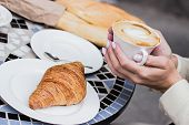 French Breakfast Concept. Coffee With Croissant. poster