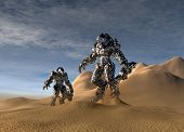 image of exoskeleton  - conceptual image of a future soldiers with a stealth exoskeleton suit on in the battlefield - JPG