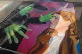 PASADENA, CA/USA - 19 de junio de 2011: Pintar murales de arte con tiza en la calle en el XIX Pasaden anual