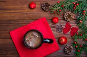 Christmas Table And A Cup Of Hot Chocolate Top View. poster