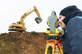 Trabajador de topógrafo hacer recopilación de datos con Teodolito de estación total en sitio de construcción