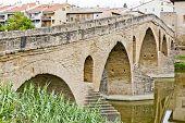 image of gare  - romanesque bridge over river Arga - JPG