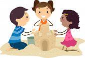 Illustration of Kids Building a Sand Castle