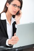 Careful woman on phone