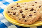 stock photo of chocolate-chip  - Homemade chocolate chip cookies like Mom used to make served on a yellow plate - JPG